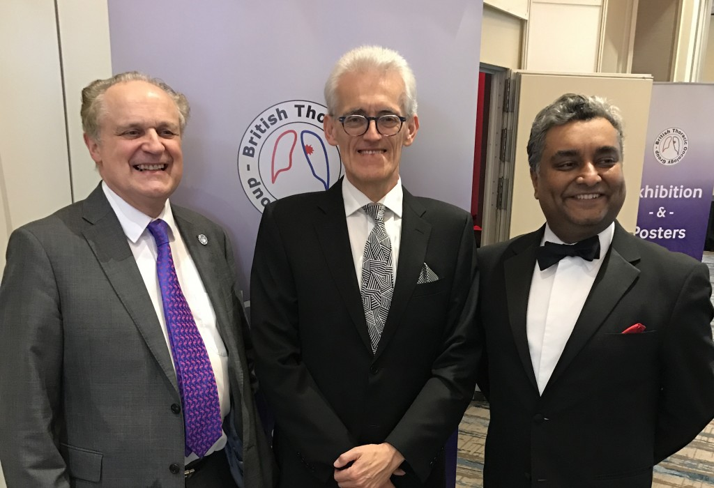 Professor John Gosney (centre) shortly after receiving his award in Dublin together with Professor John Field (left), Professor of Molecular Oncology, University of Liverpool, and Dr Sanjay Popat (right), Consultant Medical Oncologist, Royal Marsden Hospital and Imperial College London and President of the British Thoracic Oncology Group.