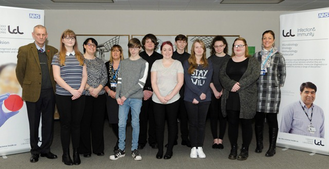 Students from Wirral Met college on their first day with Liverpool Clinical Laboratories